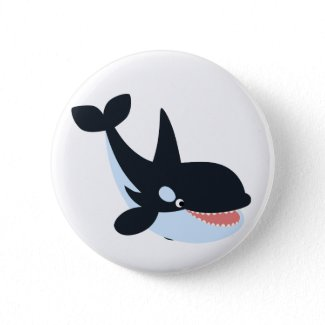Cute Happy Cartoon Killer Whale Button Badge