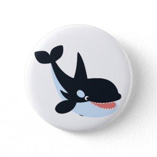 Cute Happy Cartoon Killer Whale Button Badge