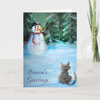 Cute Happy Snowman & Cat in Winter - Folk Painting Cards