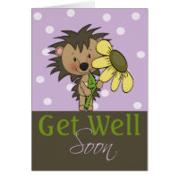 Cute Hedgehog, Get Well Soon Card