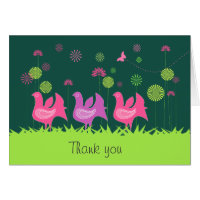 Cute hen and flowers Thank You card