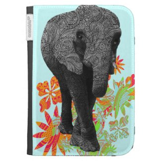 Cute Hippie Elephant Kindle Folio