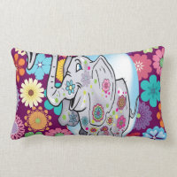 Cute Hippie Elephant with Colorful Flowers Lumbar Pillow