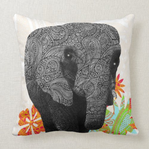 Cute Hippy Elephant Pillows mojo_throwpillow