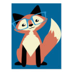 Cute Hipster Glasses Fox Postcard
