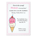 Cute Ice Cream Birthday Invitation