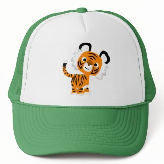 Cute Inquisitive Cartoon Tiger Hat hat
