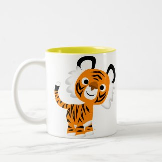 Cute Inquisitive Cartoon Tiger Mug mug