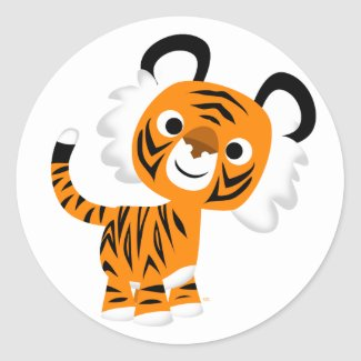 Cute Inquisitive Cartoon Tiger Sticker sticker