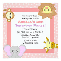Cute Jungle Animals Pink Kids Birthday Invitations