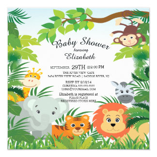 Jungle Theme Baby Shower Invitations PaperInvite