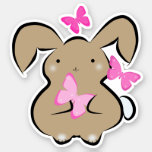 Cute Kawaii bunny with pink butterflies Sticker