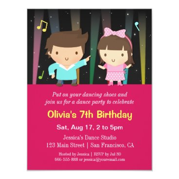 Cute Kids Disco Lights Dance Birthday Party Invitation