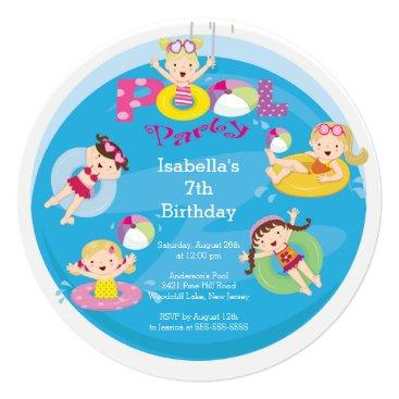 Cute Kid's Pool Birthday Party Invitation