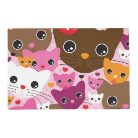 cute kitten cat background pattern laminated placemat