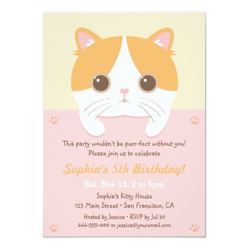Cute Kitten Cat Girls Birthday Party Invitations