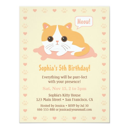 Cute Kitty Cat Girls Birthday Party Invitations