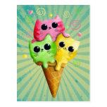❤️ Cute Kitty Cat Ice Cream Postcard