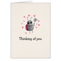 Cute Ladybug and Daisy Thinking of you Card