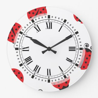Cute Ladybug Pattern Large Clock
