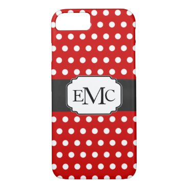 Cute Ladybug Polka Dots 3 Initials iPhone 7 Case