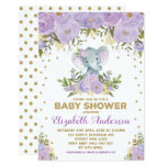 Cute Lavender Gold Floral Elephant Baby Shower Invitation