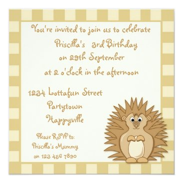 Cute Little Hedgehog Cartoon Party Invite