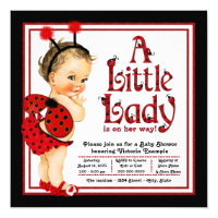 Cute Little Lady Red Ladybug Baby Shower Card