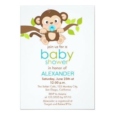 Cute Little Monkey Boy Baby Shower Invitation