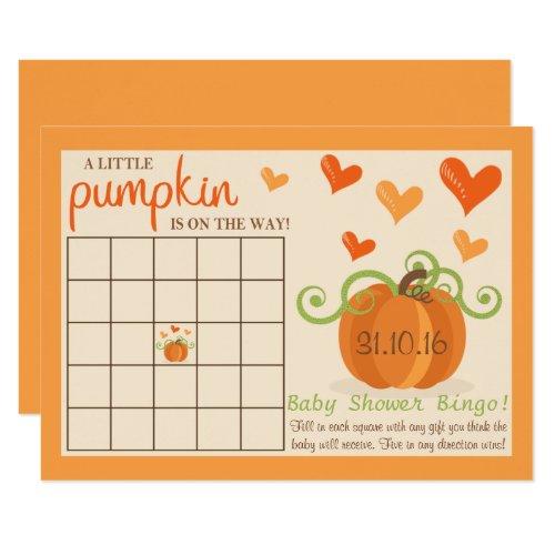 Cute Little Pumpkin Baby Shower Bingo Cards