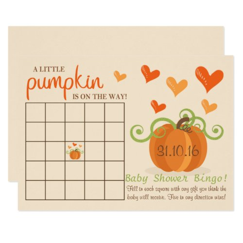 Cute Little Pumpkin Baby Shower Bingo Cards