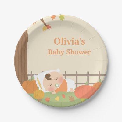 Little Pumpkin Baby Shower Paper Plates