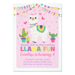 Cute Llama Birthday Party Girly Fiesta Alpaca Invitation