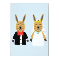 Cute Llama Bride and Groom Card