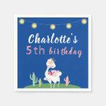 Cute Llama Fun Blue Birthday Party Napkin