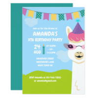 Cute Llama themed Kids Birthday Party invitation