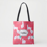 Cute llamas Peru illustration red background Tote Bag