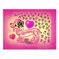 Cute Love Dachshund Postcard