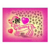 Cute Love Dachshund Postcard