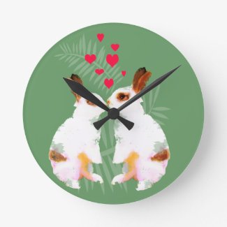 Cute love rabbits wall clocks