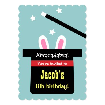 Cute Magic Hat Bunny Birthday Party Invitations