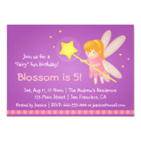 Cute Magical Fairy Theme, Girl Birthday Party Card