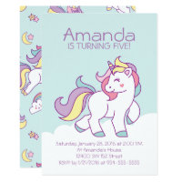 Cute Magical Unicorn Pastel GIRLY Animals Birthday Card