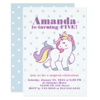 Cute Magical Unicorn Polka DOT custom Birthday Card