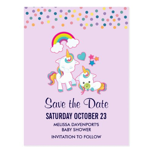 Cute Mama &amp&#x3B; Baby Unicorn Magical Save the Date Postcard