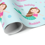 Cute Mermaid Blue Personalized Birthday Wrapping Paper