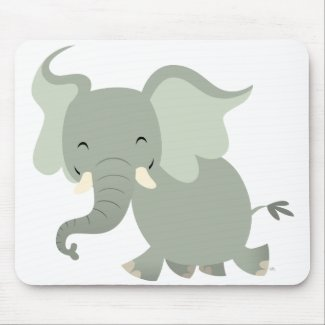 Cute Merry Cartoon Elephant Mousepad mousepad