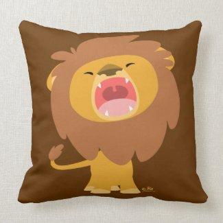 Cute Mighty Roaring Lion Cartoon Pillow throwpillow