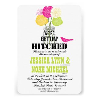 Cute Modern Ranunculus Rose Mason Jar Love Bird Invites