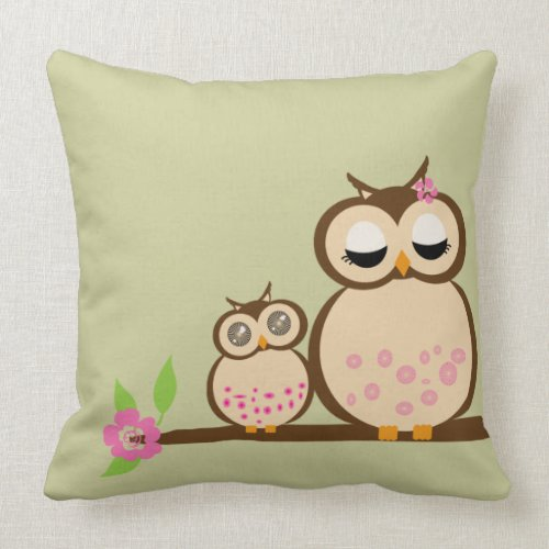 Cute Mom and baby owl throwpillow